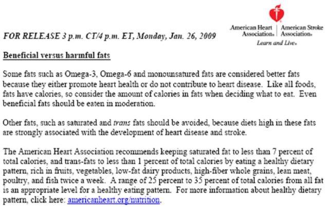 Nota de la American Heart Association sobre las grasas poco saludables